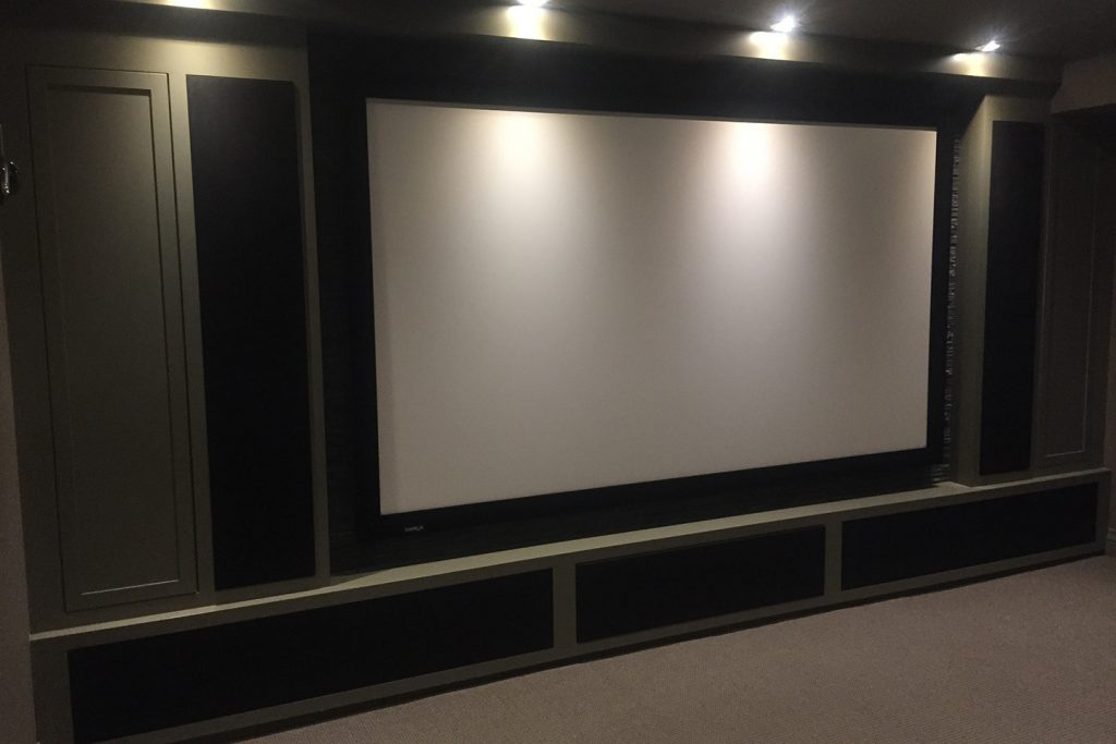 On Wall Projection Screen with Custom Cabinetry for Speakers