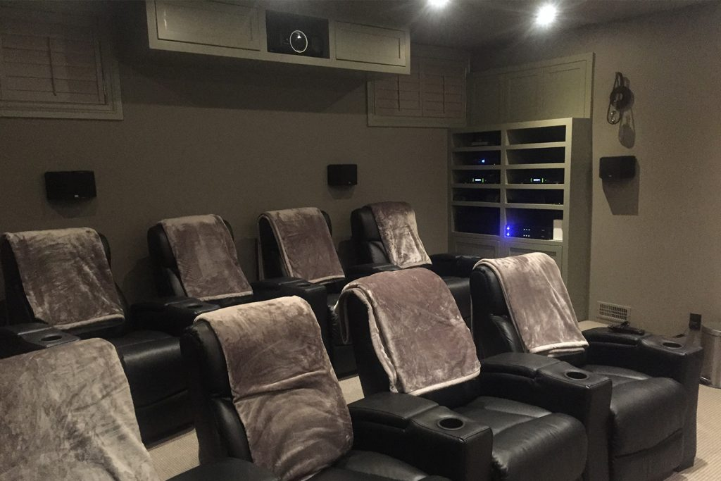 8 Seat Home Theater with Riser and Custom Audio Unit & Projector Casing