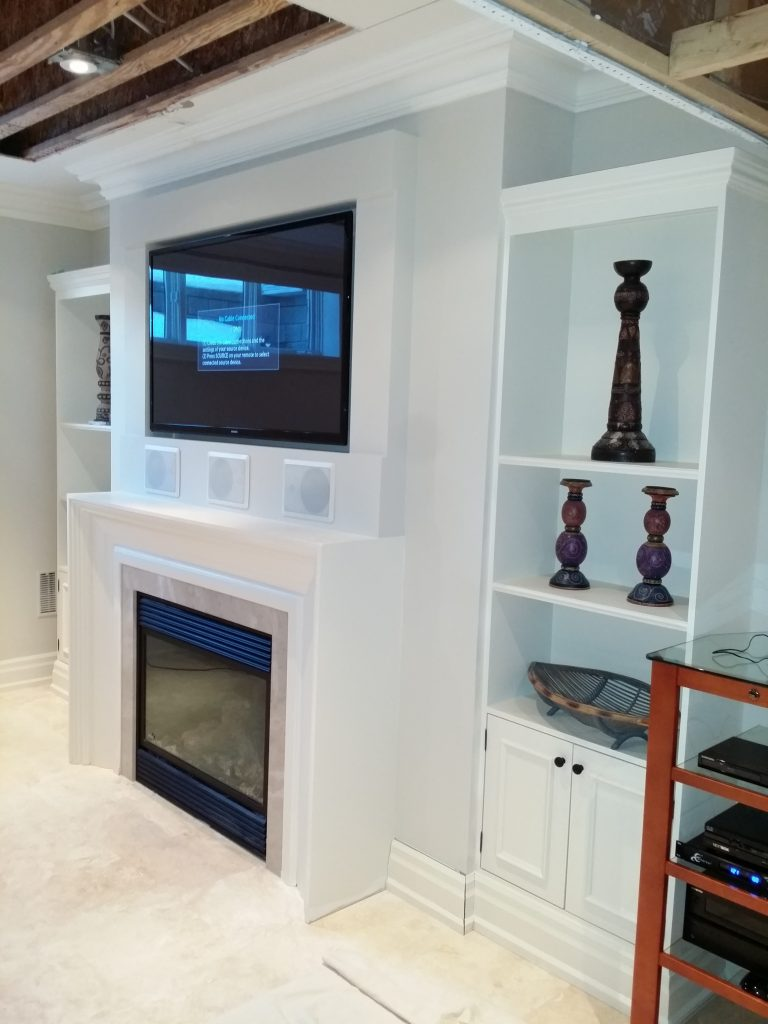 Fireplace Build Out for Flush TV & Speakers