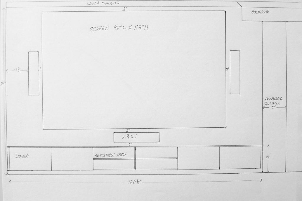 Hand drawing of Home Theater Layout