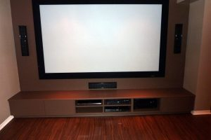 5. Projection Screen with Custom Shelving