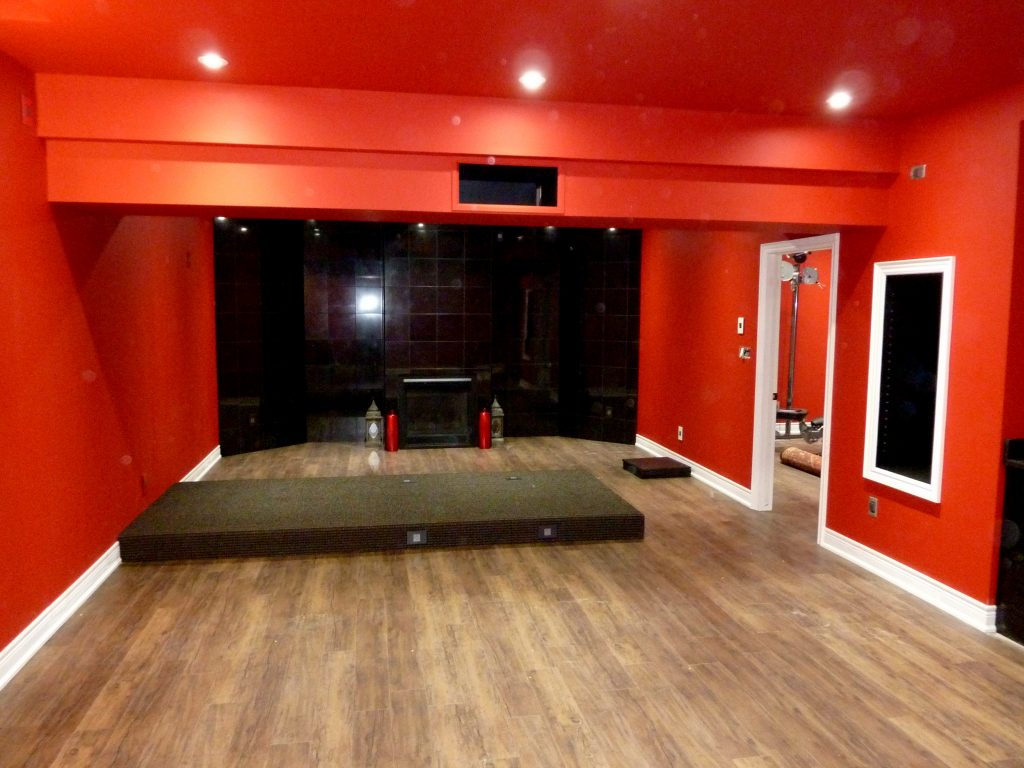 See Riser for Seating as We Look to Back of Home Theater Room