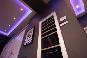Custom Home Theater Shelving In-Wall