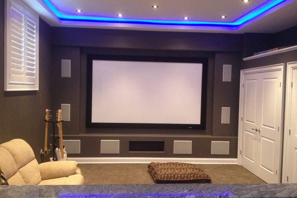 Custom Home Theater Design Before Stone & Speaker Covers