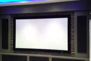 Home Theater Screen with Stone Work by THT