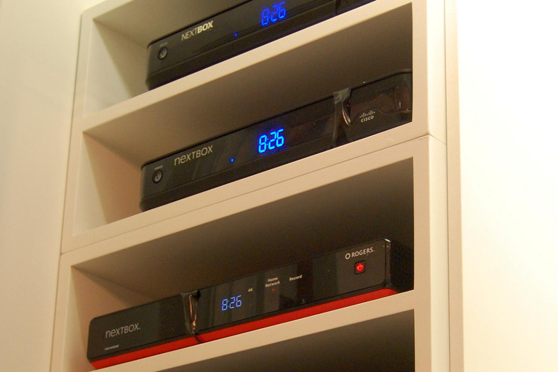 Custom Home Audio Shelving in Condo closet