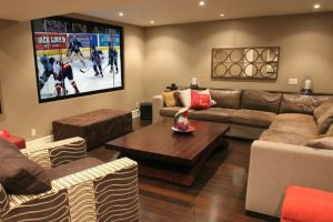 Projection Screen with Hidden In-Wall Speakers