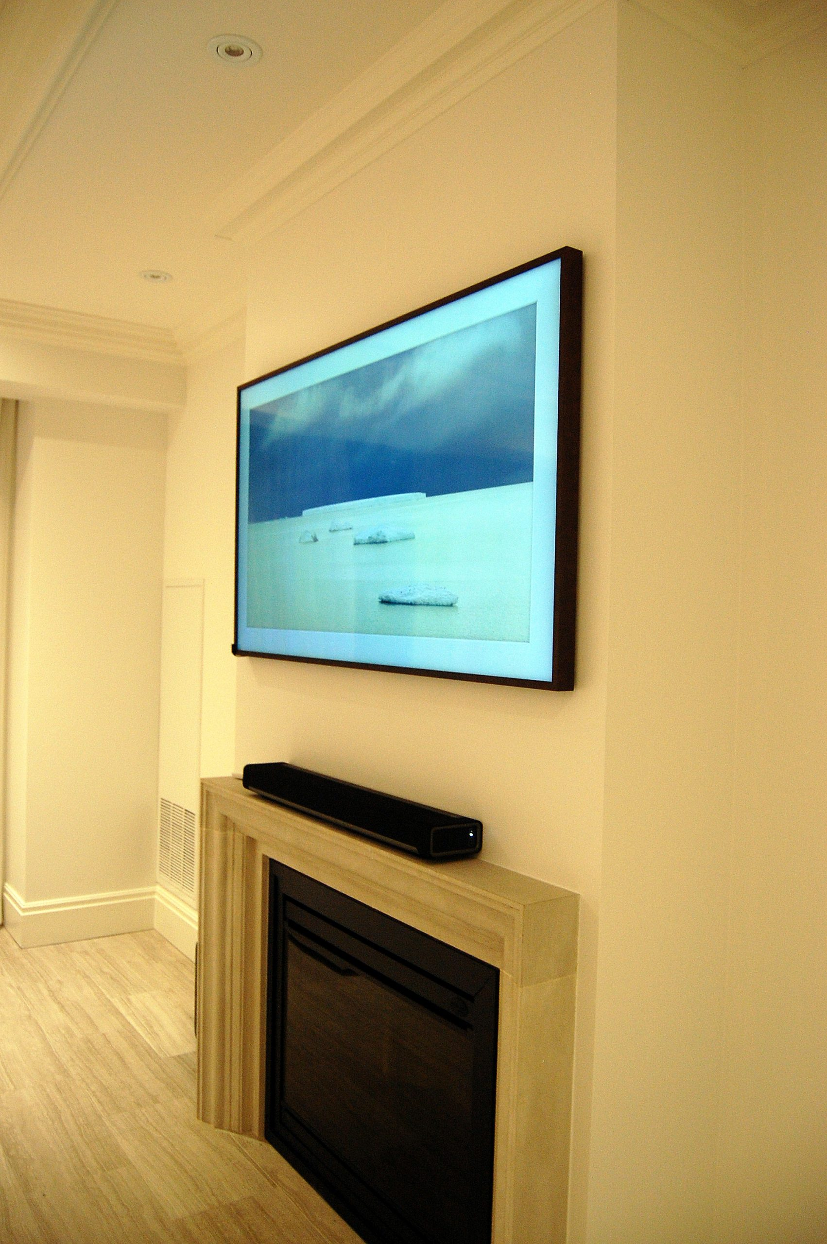 Samsung The Frame TV Above Fireplace