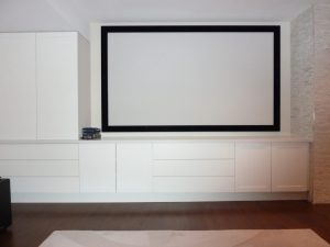 Perforated Projection Screen - Centre Channel & Left & Right Speakers Behind Screen