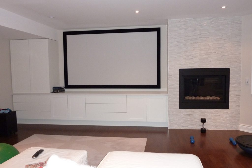 On Wall Projection Screen with Hidden Components